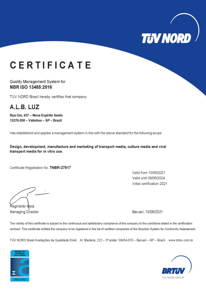 CERTIFICATE - Quality Management System for NBR ISO 13485:2016